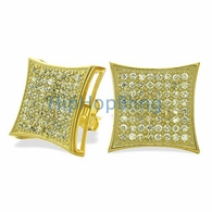 XXL Kite Gold Vermeil CZ Micro Pave Earrings .925 Silver