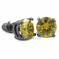 Yellow CZ Diamond Round Stud Earrings Black