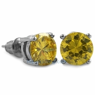 Yellow CZ Diamond Round Stud Earrings Rhodium