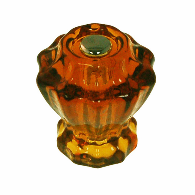 Amber Fluted Glass Knob 1.25""