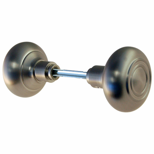 ARC33BN-Hollow Brass Door Knob, Pair w/Spindle, Brushed Nickel Finish