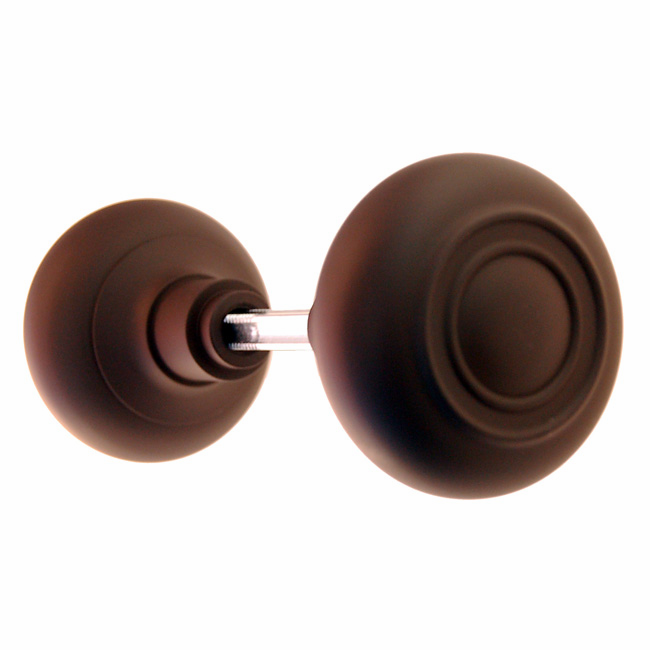 ARC33ORB-Hollow Brass Door Knob, Pair w/Spindle, Oil Rubbed Bronze Finish