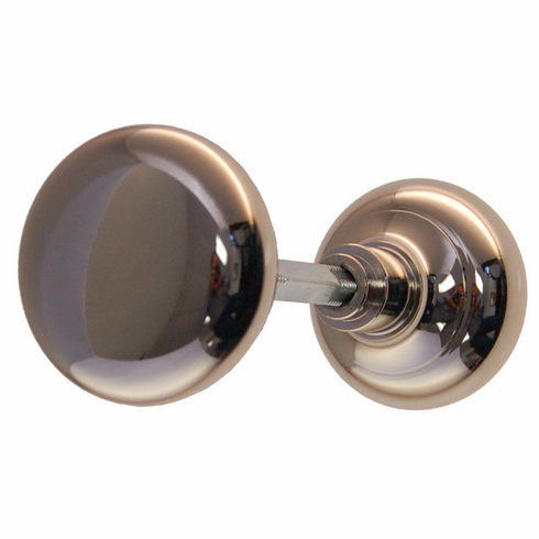 ARC34N-Hollow Brass Door Knob, Pair w/Spindle, Polished Nickel Finish