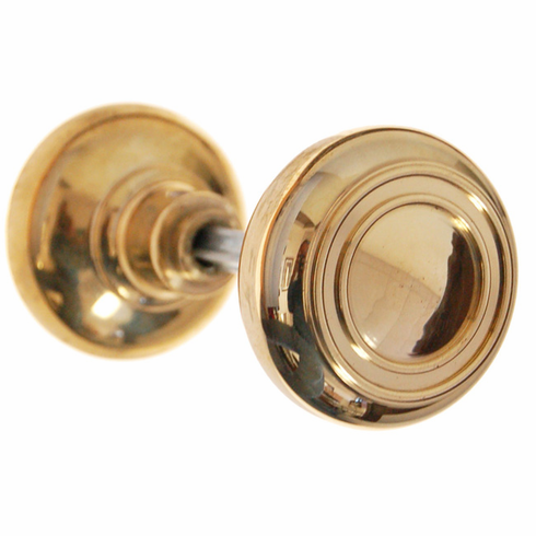 ARC35B-Solid Brass Door Knob, Pair w/Spindle, Polished Brass Finish