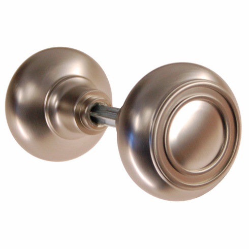 ARC35BN-Solid Brass Door Knob, Pair w/Spindle, Brushed Nickel Finish
