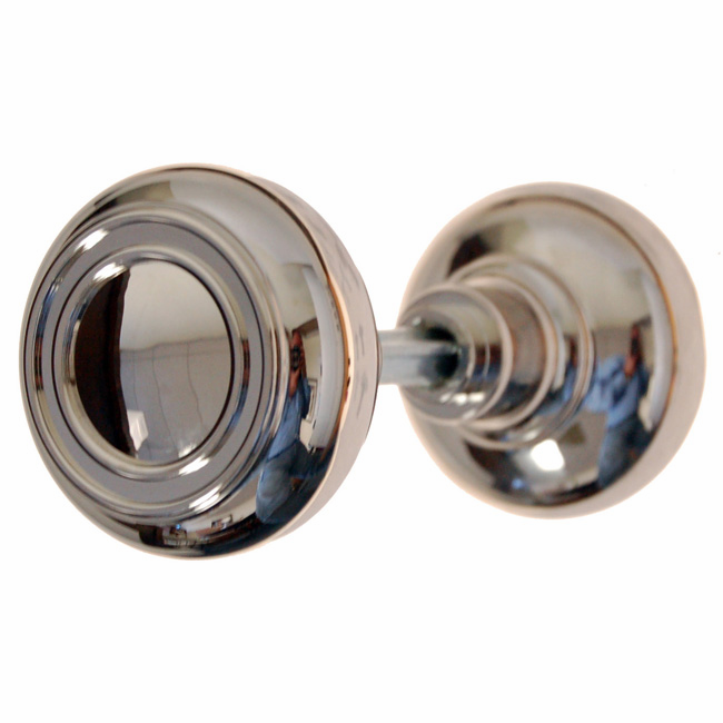 ARC35N-Solid Brass Door Knob, Pair w/Spindle, Polished Nickel Finish