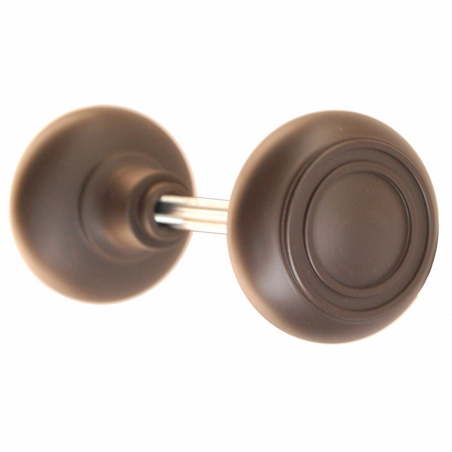 ARC35ORB-Solid Brass Door Knob, Pair w/Spindle, Oil Rubbed Bronze Finish