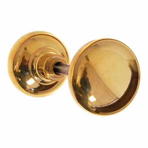 ARC36B-Solid Brass Door Knob, Pair w/Spindle, Polished Brass Finish