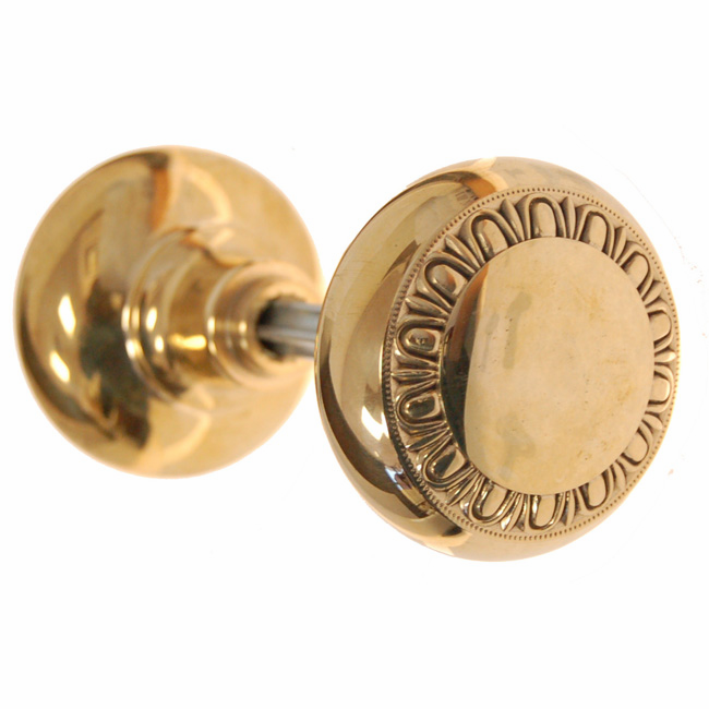 ARC38B-Solid Brass Door Knob, Pair w/Spindle, Polished Brass Finish