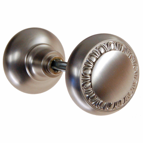 ARC38BN-Solid Brass Door Knob, Pair w/Spindle, Brushed Nickel Finish