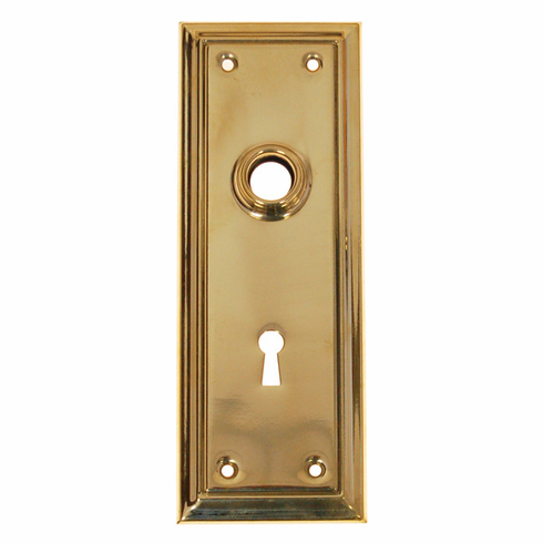 ARC39B-Stamped Brass Backplate, Brass Finish with Keyhole