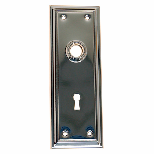 ARC39N-Stamped Brass Backplate, Nickel Finish with Keyhole