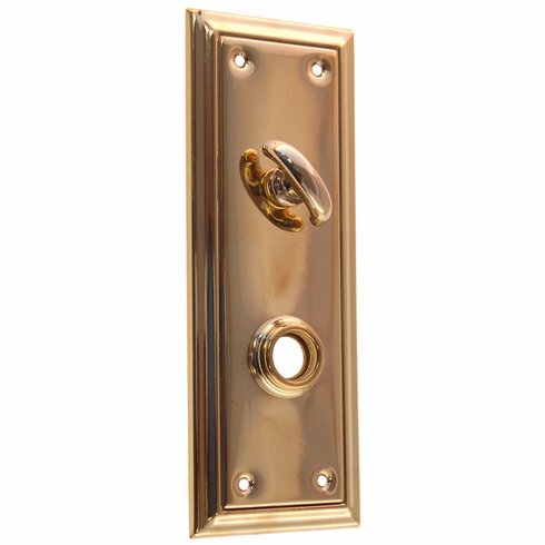 ARC41B-Stamped Brass Backplate, Brass Finish with Thumb Turn