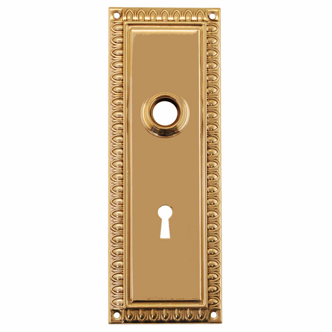 ARC47PL-Stamped Brass Backplate, Polished Lacquered Brass Finish with Keyhole