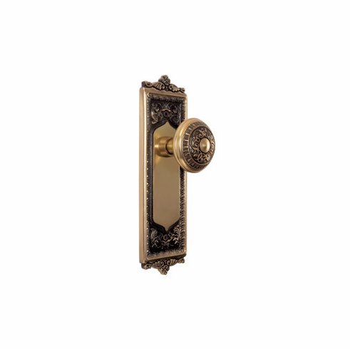 ARC55AB-Egg and Dart Backplate and Egg and Dart Knob, Passage, Antique Brass