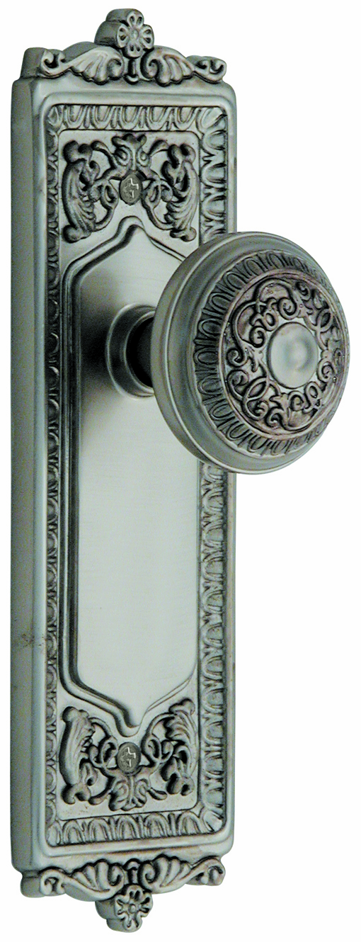 ARC55N-Egg and Dart Backplate and Egg and Dart Knob, Passage, Satin Nickel