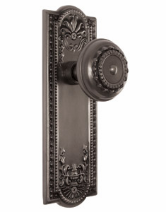 ARC56AP-Meadows Backplate and Meadows Knob, Passage, Antique Pewter