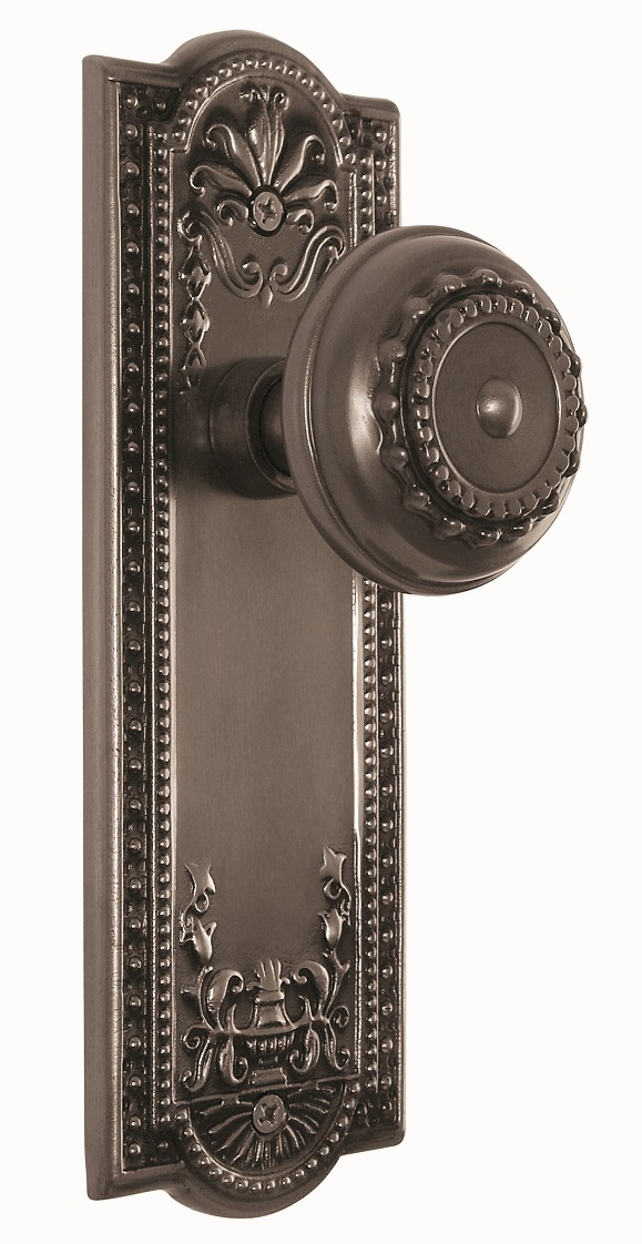 ARC56AP- Meadows Backplate and Meadows Knob, Privacy, Antique Pewter