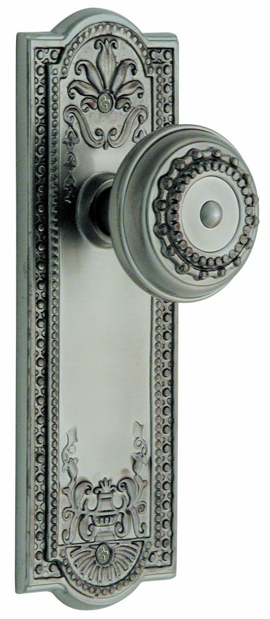 ARC56N-Meadows Backplate and Meadows Knob, Passage, Satin Nickel