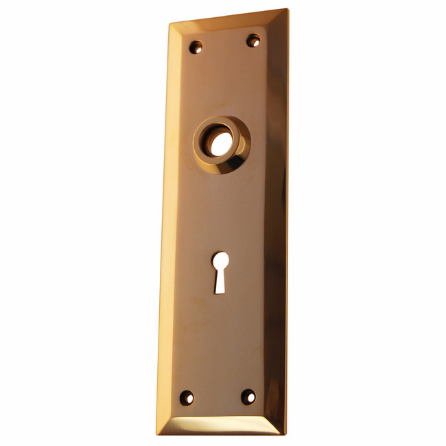 ARC9PL-Heavy Forged Brass Backplate, Polished Lacquered Brass Finish with Keyhole