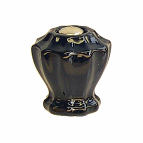 Black Glass Fluted Knob 1""