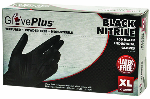 Black Nitrile Gloves, Extra Large, 6 Box Pack