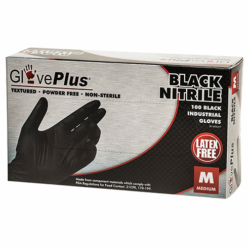 Black Nitrile Gloves, Medium, 10 Box Case