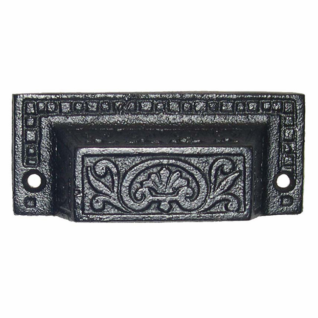 Black Victorian Cast Iron Bin Pull
