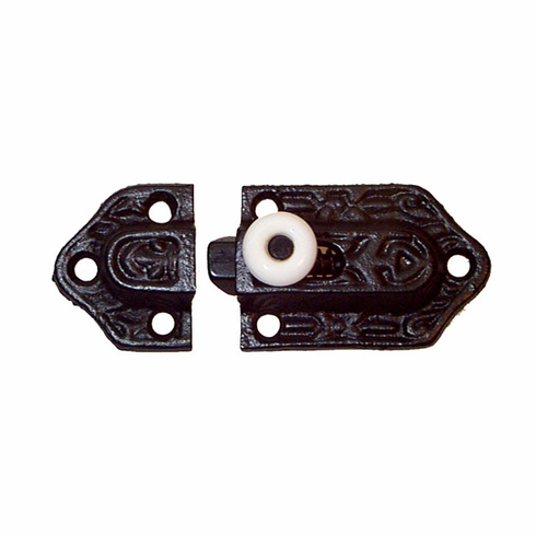 Black Victorian Cast Iron Latch with Porcelain Knob