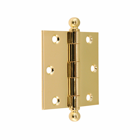 "Door Hinge with Ball Tip- 3"" x 3""-Polished Lacquered Brass"