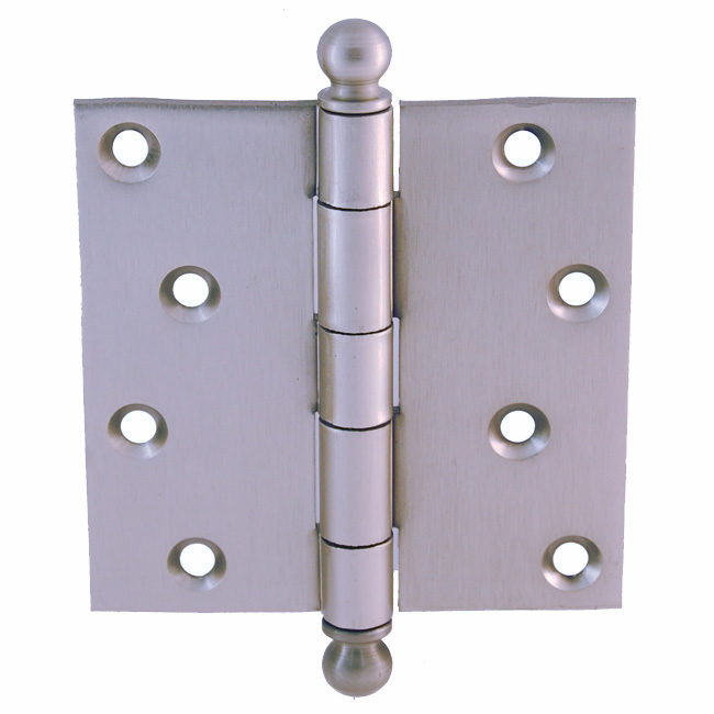 "Door Hinge with Ball Tip 4""x4"" Brushed Nickel"
