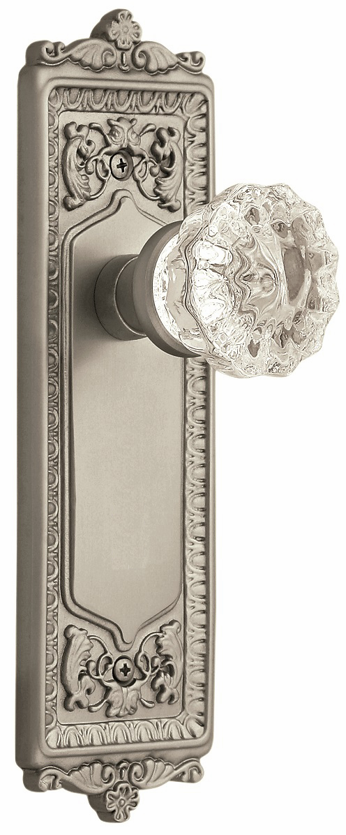 Egg and Dart Backplate and Crystal Knob, Passage, Satin Nickel