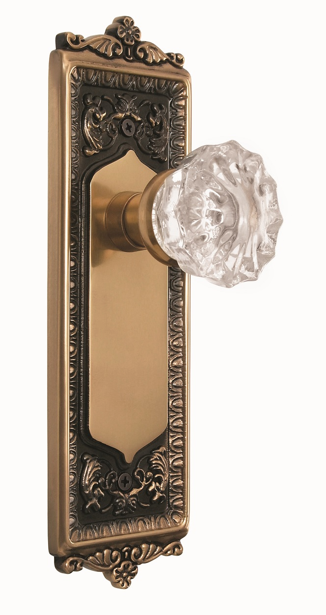 Egg and Dart Backplate and Crystal Knob, Privacy, Antique Brass