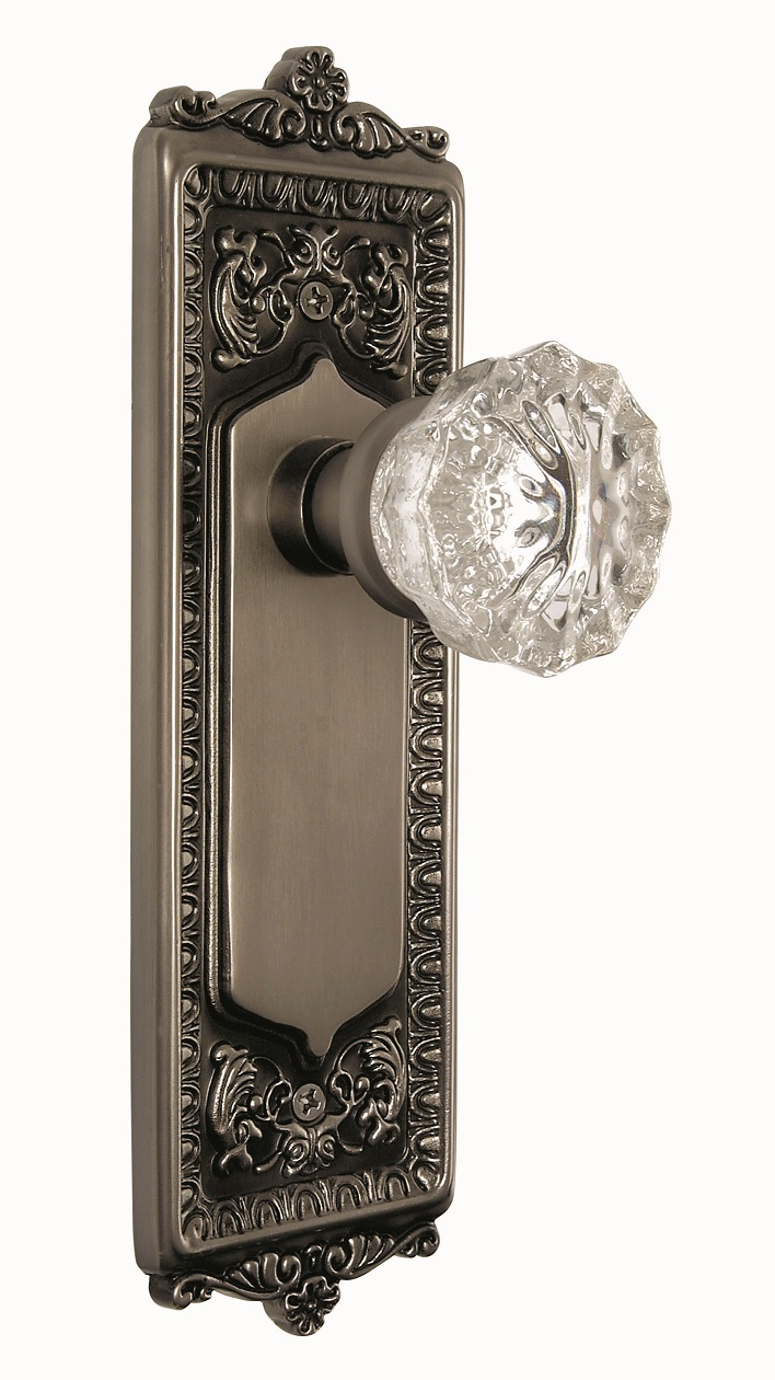 Egg and Dart Backplate and Crystal Knob, Privacy, Antique Pewter