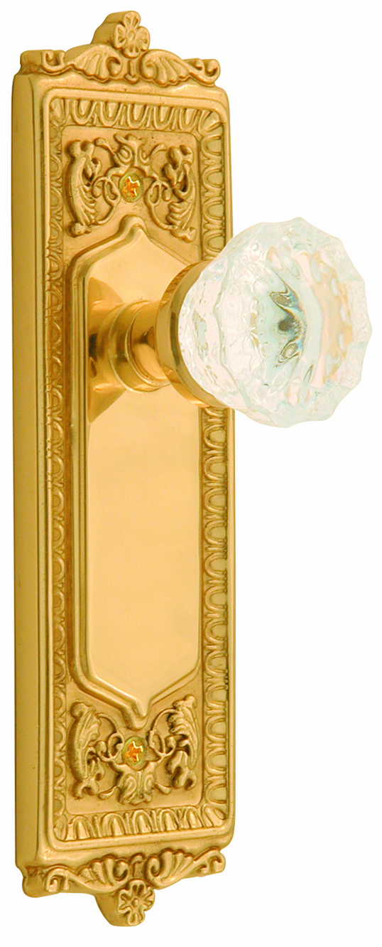 Egg and Dart Backplate and Crystal Knob, Privacy, Brass