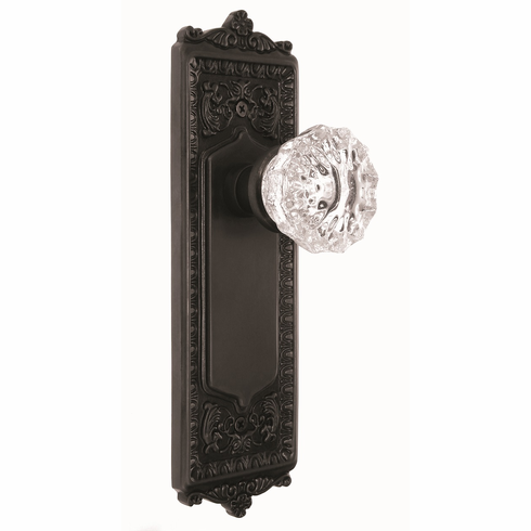 Egg and Dart Backplate and Crystal Knob, Privacy, Oil Rubbed Bronze