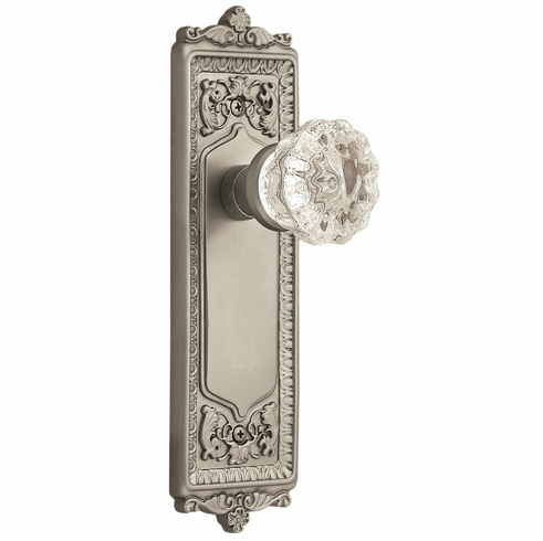 Egg and Dart Backplate and Crystal Knob, Privacy, Satin Nickel