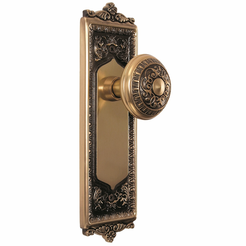 Egg and Dart Backplate and Egg and Dart Knob, Privacy, Antique Brass