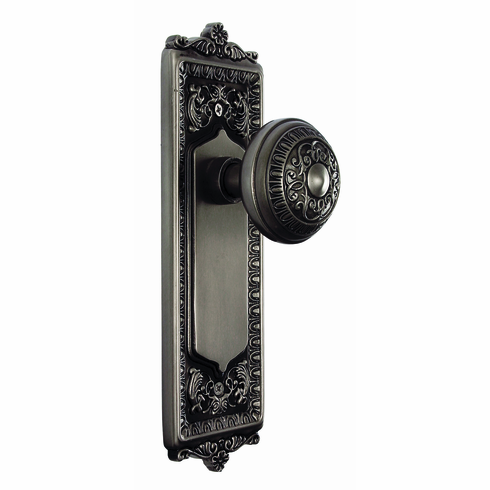 Egg and Dart Backplate and Egg and Dart Knob, Privacy, Antique Pewter