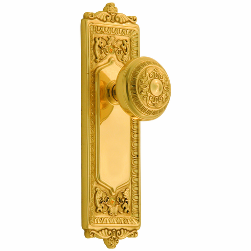 Egg and Dart Backplate and Egg and Dart Knob, Privacy, Brass