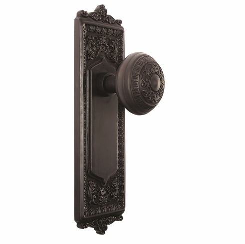 Egg and Dart Backplate and Egg and Dart Knob, Privacy, Oil Rubbed Bronze