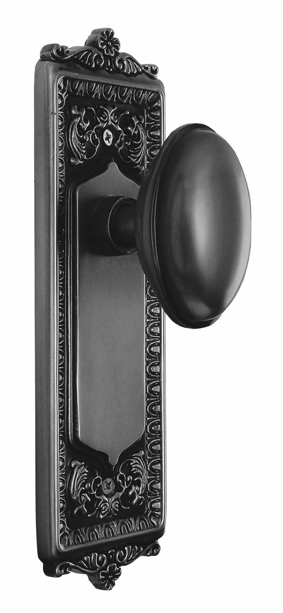 Egg and Dart Backplate and Homestead Knob, Passage, Oil Rubbed Bronze
