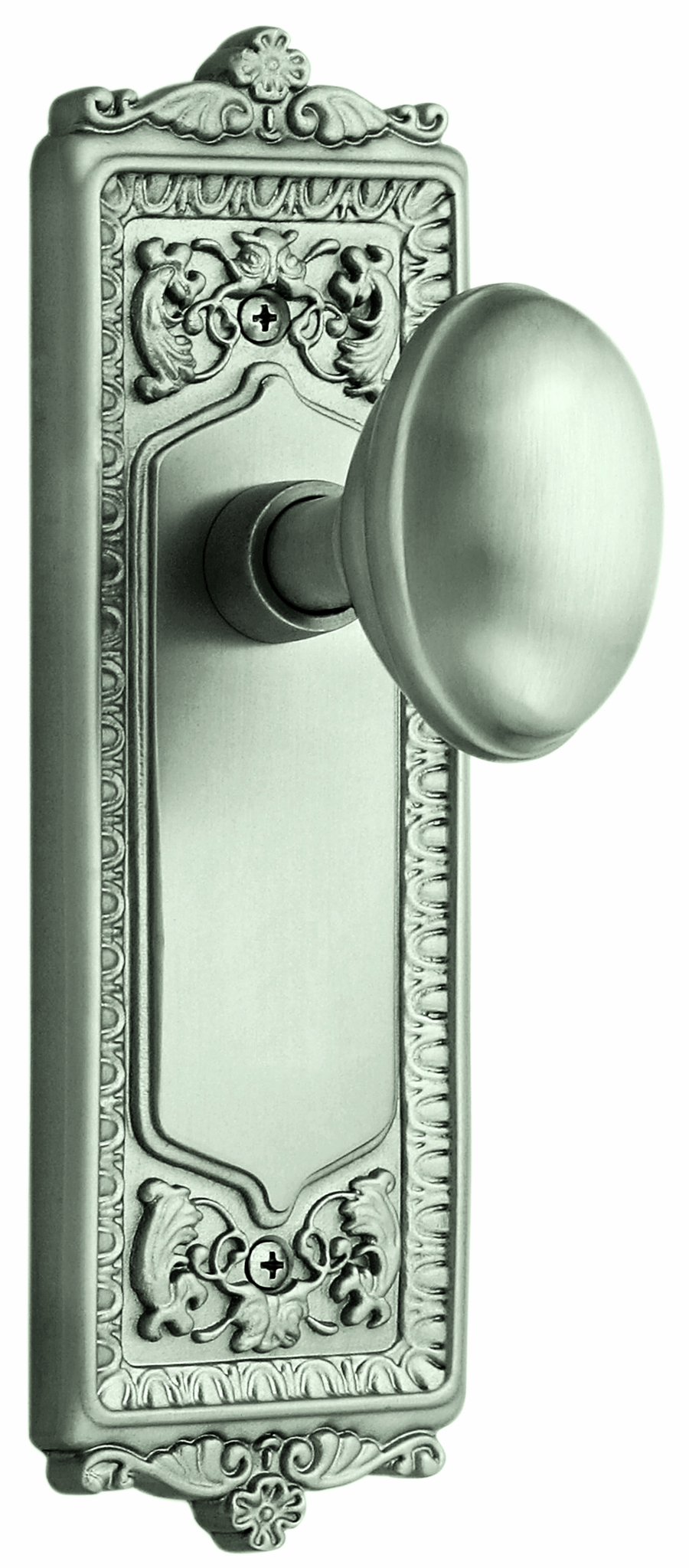 Egg and Dart Backplate and Homestead Knob, Passage, Satin Nickel