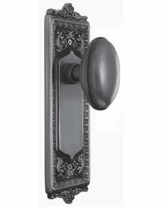 Egg and Dart Backplate and Homestead Knob, Privacy, Antique Pewter
