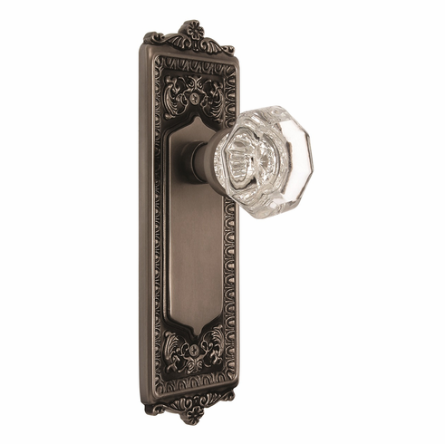 Egg and Dart Backplate and Waldorf Knob, Passage, Antique Pewter