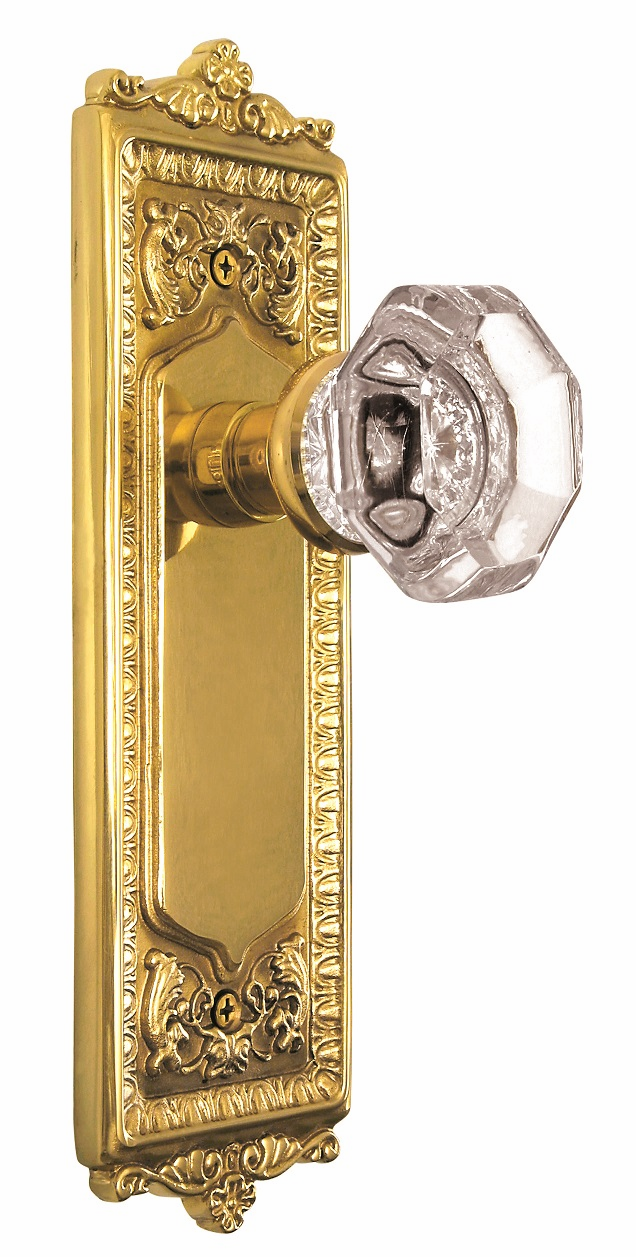 Egg and Dart Backplate and Waldorf Knob, Passage, Brass