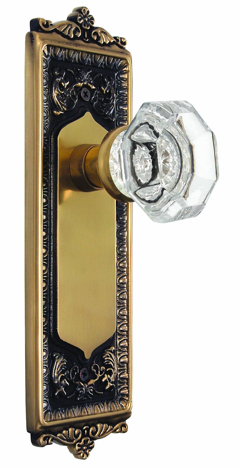 Egg and Dart Backplate and Waldorf Knob, Privacy, Antique Brass