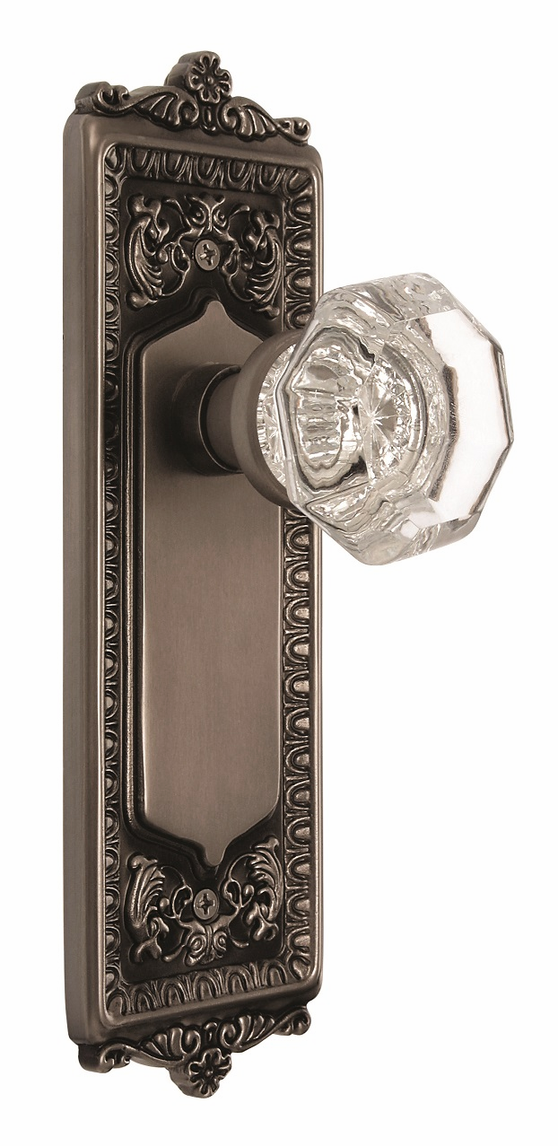 Egg and Dart Backplate and Waldorf Knob, Privacy, Antique Pewter