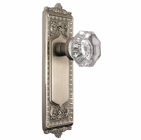 Egg and Dart Backplate and Waldorf Knob, Privacy, Satin Nickel