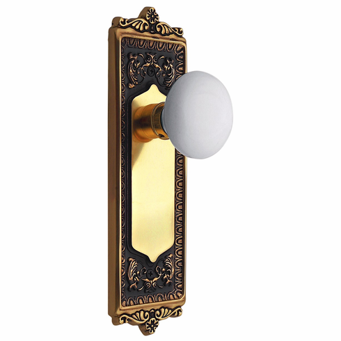 Egg and Dart Backplate and White Porcelain Knob, Passage, Antique Brass
